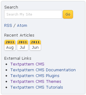 Sidebar of new default Textpattern CMS theme