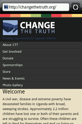 Change The Truth as seen on mobile phone