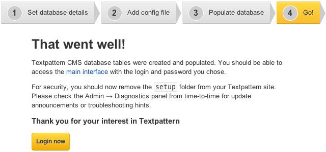 Textpattern installation screen 5