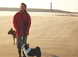 "Els with dogs on beach"" title=""Els with dogs on beach"