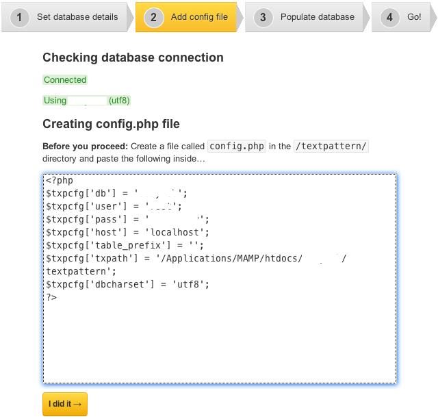 Textpattern installation screen 3